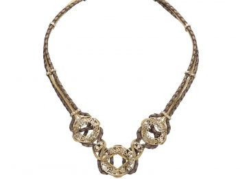 Brass necklace with cubic zirconias
