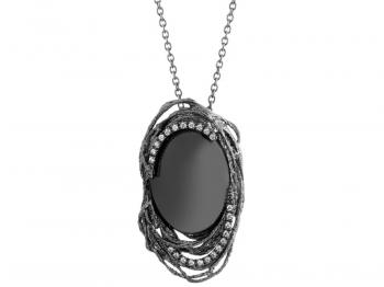 Silver necklace with hematite and cubic zirconias