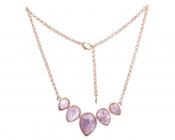Brass necklace with amethysts