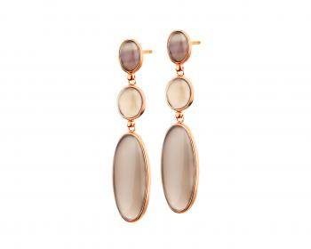 Brass earrings with agate