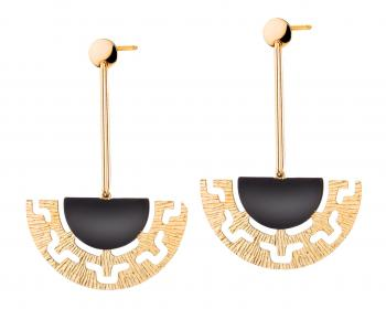 Gold plated bronze earrings with enamel