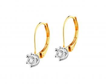Yellow and white gold earrings with diamonds