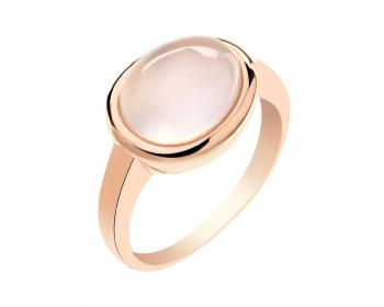 Gold plated brass ring with quartz