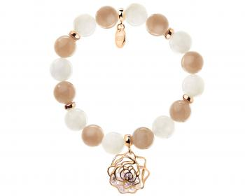 Gold plated brass bracelet with moonstone and cubic zirconia