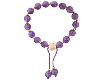 Gold plated brass bracelet with amethyst