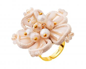 Gold plated brass ring with pearls and glass