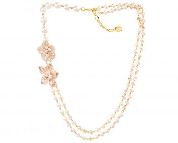 Gold plated brass necklace with pearls, glass and crystals