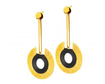 Gold plated bronze and enamel earrings