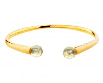 Gold plated brass bracelet with quartz