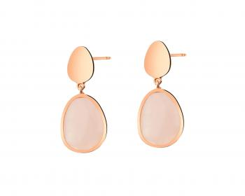 Gold plated brass earrings with quartz