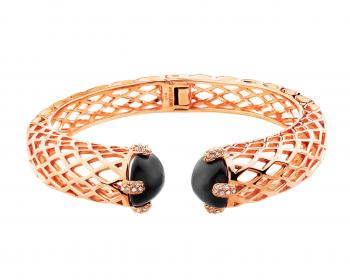 Gold plated brass bangle with crystals