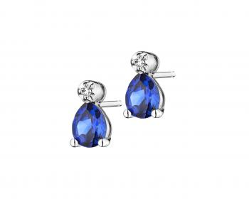 White gold diamond and synthetic sapphire earrings