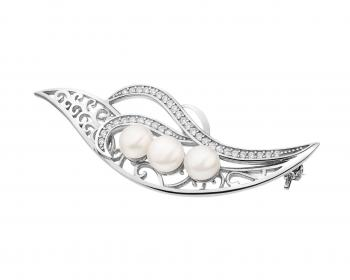 Silver brooch with cubic zirconia and pearls