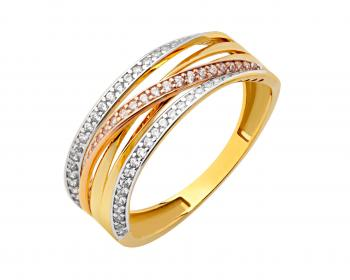 Three tone gold ring
