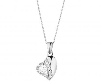 Sterling silver heart shape pendant with cubic zirconia