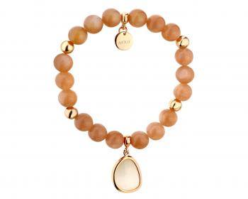 Gold plated brass bracelet with Moonstone