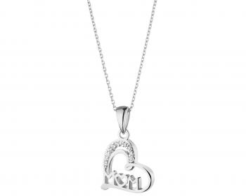 Silver heart shaped pendant with cubic zirconia