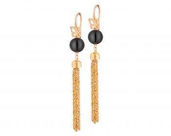 Gold pated silver drop earrings with onyx round beads