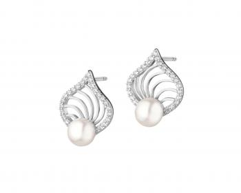 Silver earrings with pearls and cubic zirconia