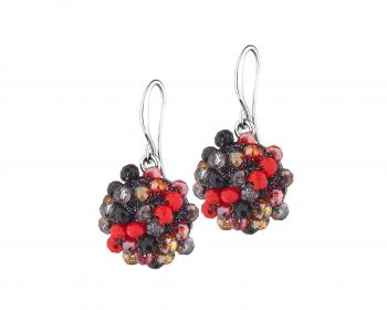 Cluster glass bead drop earrings