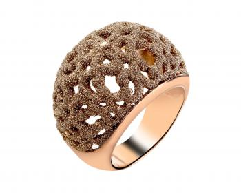 Stainless steel ring with jewel mineral dust