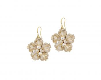 Gold plated brass earrings with pearls, glass and crystals