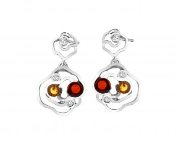 Sterling silver earrings with cubic zirconia and amber