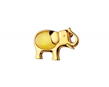 Gold plated silver elephant brooch with amber