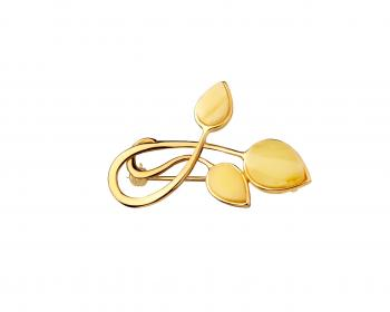 Gold plated silver brooch with amber