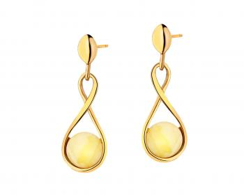 Gold plated silver earrings with ambers