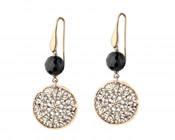 Gold plated bronze and Onyx drop earrings