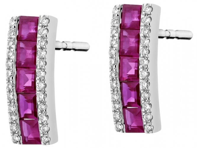 White gold earrings with brilliants and rubies