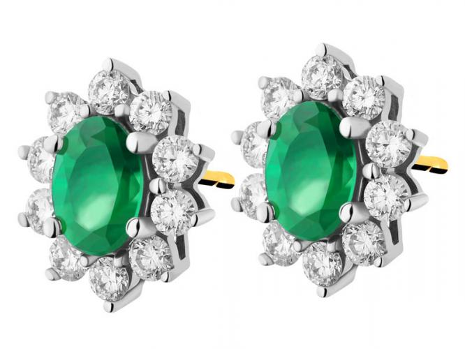 Yellow and white gold earrings with brilliants and emeralds