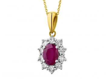 Yellow and white gold pendant with brilliants and ruby