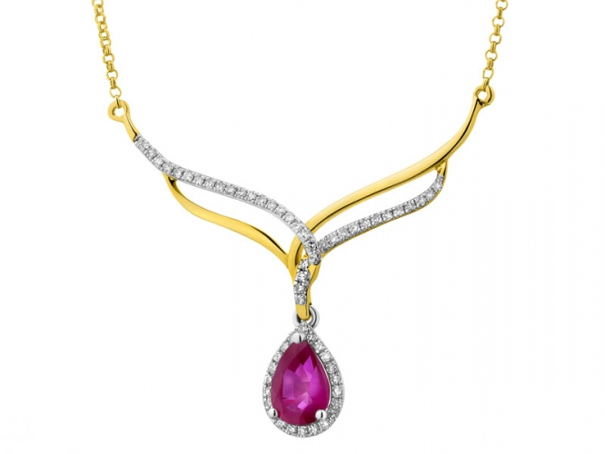 Yellow gold necklace with diamonds and ruby