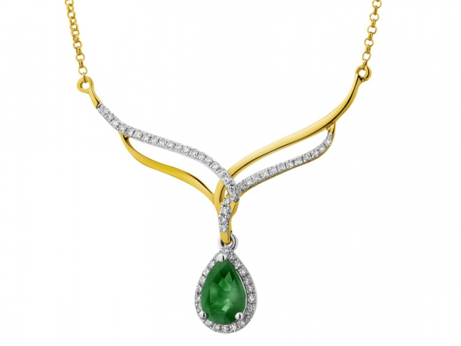 Yellow gold necklace with diamonds and emerald