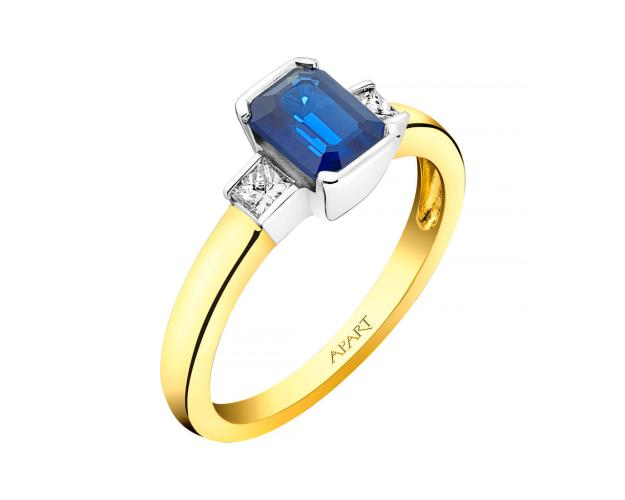 Yellow and white gold ring with diamonds and sapphire