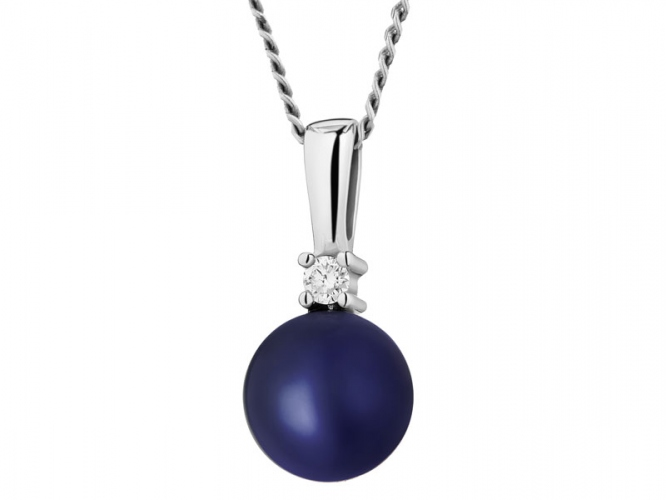 White gold pendant with brilliant and pearl