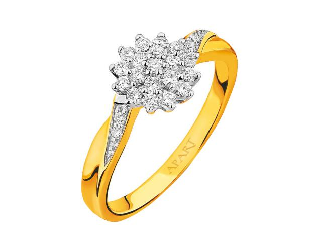 Yellow gold ring with brilliants