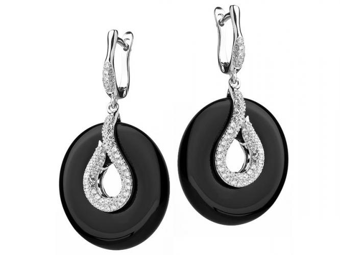Silver earrings with cubic zirconias and onyx
