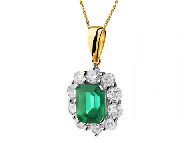 Yellow and white gold pendant with brilliants and emerald