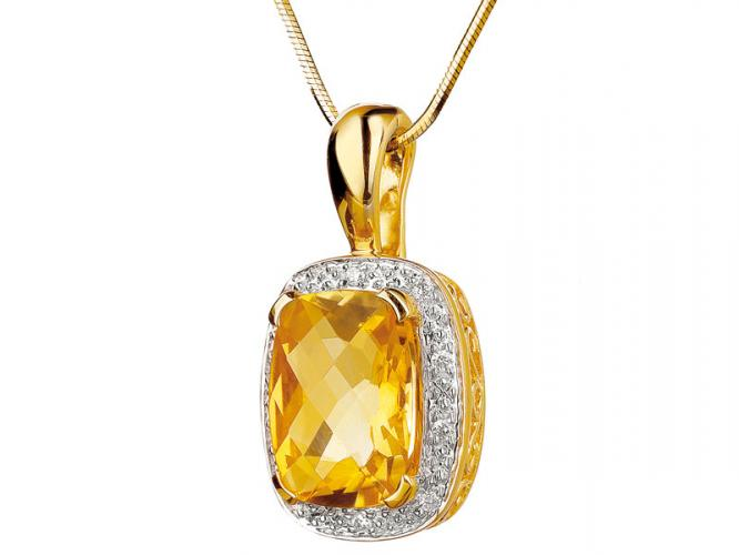 Yellow gold pendant with diamonds and citrine