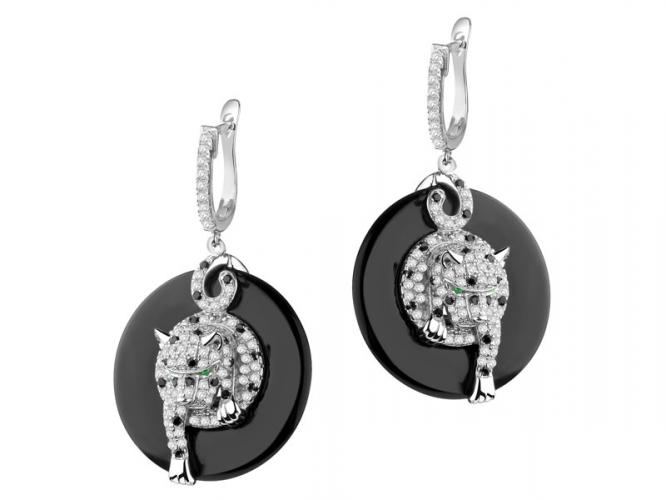 Silver earrings with onyx and cubic zirconias