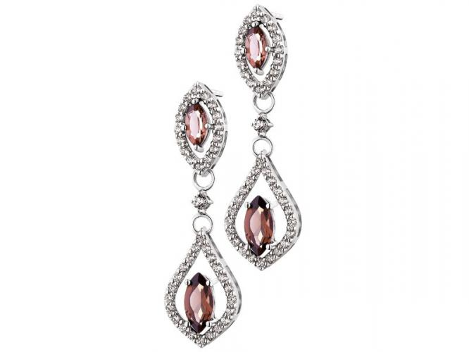 Silver earrings with cubic zirconias and quartz