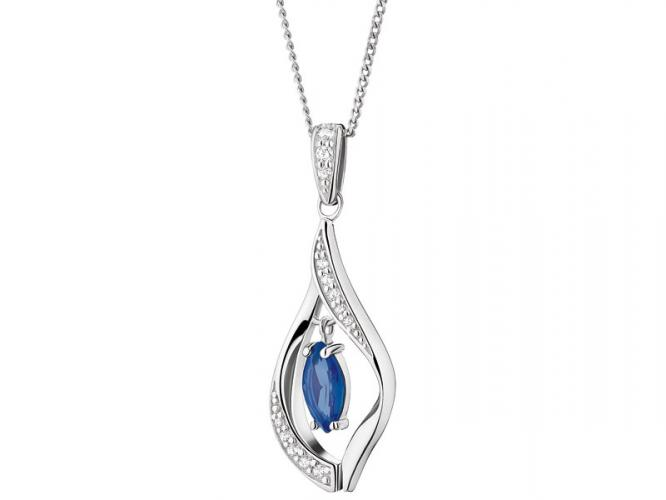 Silver pendant with cubic zirconias and synthetic spinel