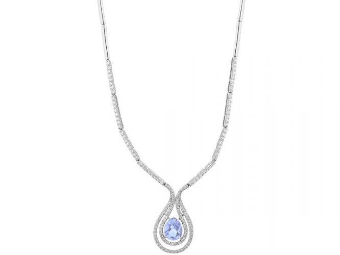 Silver necklace with cubic zirconias and synthetic spinel