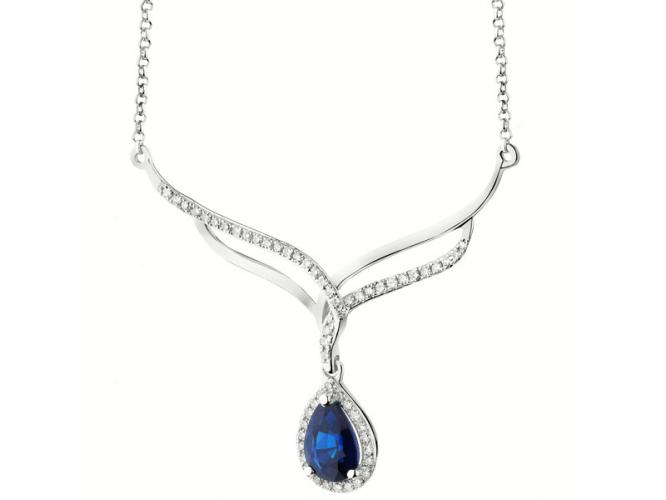 White gold necklace with diamonds and sapphire