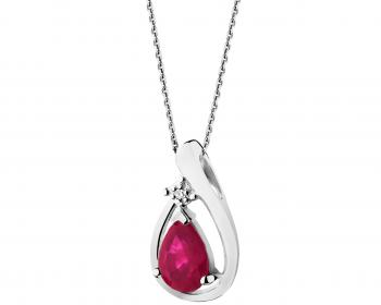 White gold pendant with diamond and ruby