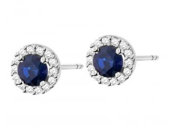 White gold earrings with brilliants and sapphires
