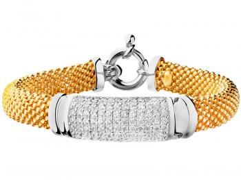 Gold-plated silver bracelet with cubic zirconias